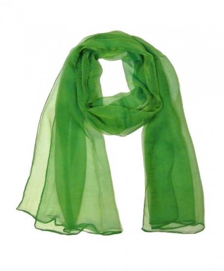Allydrew Solid Color Silk Long Scarf- Green - C911M4O4VTN