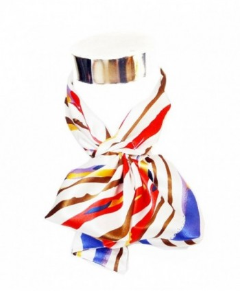 Silk-Feel Magic Fashion Neck Scarf - Multicolored Strips on Ivory Design (40+ tying styles) - CD116KIDFMN