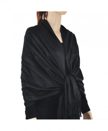"Paskmlna Large Solid Color Pashmina Shawl Wrap Scarf 80"" X 27"" - Black1 - CO12I75FPUV"