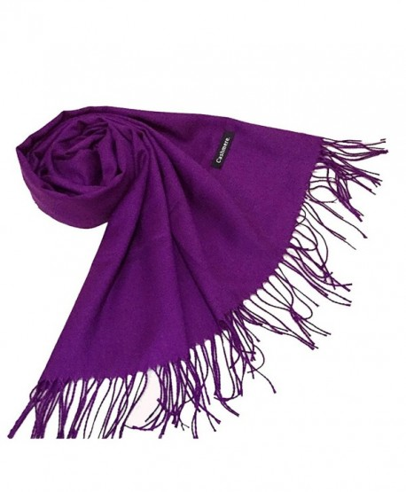 Easyhousehome women's plants cashmere shawl euramerican Pure color tassel scarf - Purple - CC186N8QZQU