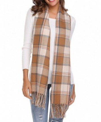 Women's Long Shawl Big Grid Winter Warm Lattice Large Scarf - Plaid Rice Coffee - CT185QQHWU7
