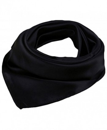 """Women Satin Square Scarf Wrap Silk Feel Solid Color Hair Scarf Accessory 23"""" - Black - C4186L75HKM"""