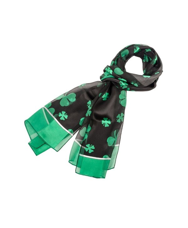 Shamrock Scarf with Green Edge for St Patrick's Day in Black - C811CTF4ESF