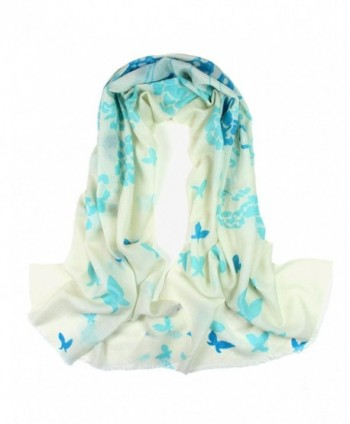 Dahlia Women's 100% Merino Wool Pashmina Scarf - Ink Painting Flower Style - Butterfly Flower: Blue - CL12JXRP3SB