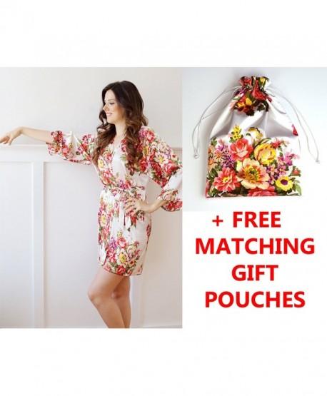 American Cuteness Floral Satin Bridesmaid Gift Robes- Bridal Wedding Favor - White - CI187UWN6YD