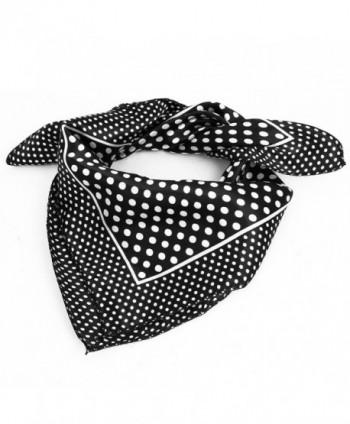 uxcell Women Polyester Fashion Round Dot Square Scarf Wrap Black White - Black-white - CB12CHMGH4D