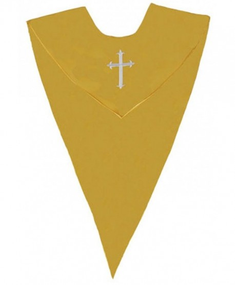 IvyRobes Unisex V Shape Solid-Colored Choir Stole with Cross - Gold - C711SZY3G5B