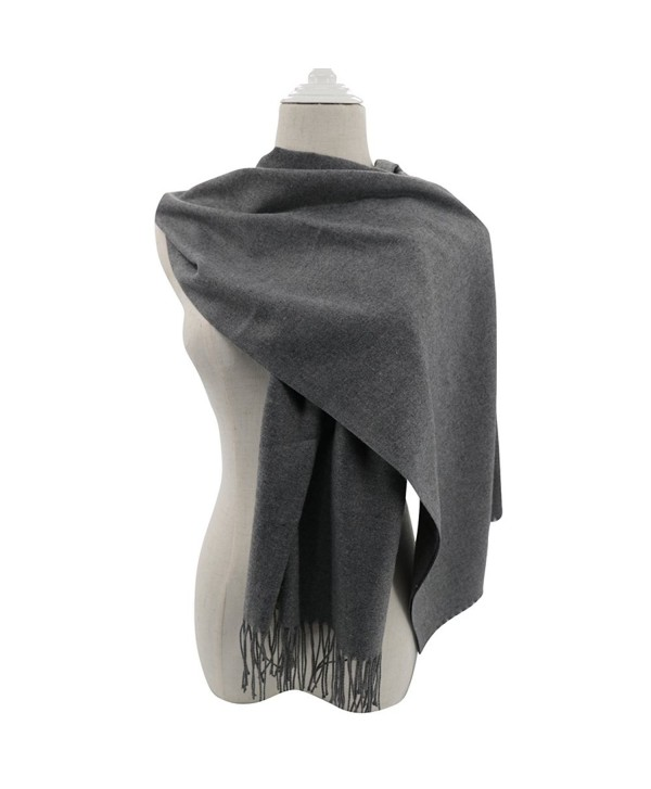 Pashmina Scarf for Women- Vimate Cashmere Feel Plain Colors Pashmina Shawls and Wraps - Gray - C1180L77TY0