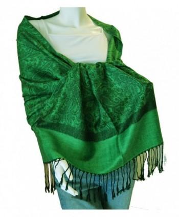 Jacquard Pashmina Paisley Shawl Green& BlackAL - C2112HTM3F9