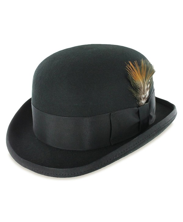 Belfry Tammany Derby Bowler 100% Pure Wool Felt Theater Quality Hat in Black or Grey - Black - CP11GY7P05P