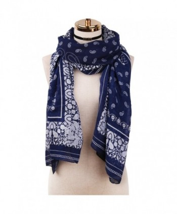 SOJOS Women's Fashion Pattern Soft Lightweight Summer Beach Shawl Wrap Scarf SC312 - C2 Dark Blue Paisley - CK186TWMC9N
