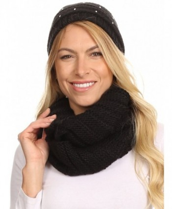 Sakkas Sayla Rhinestone Jewel Soft Warm Woven Cable Knit Beanie Hat And Scarf Set - Black - CD12L6X0A8R