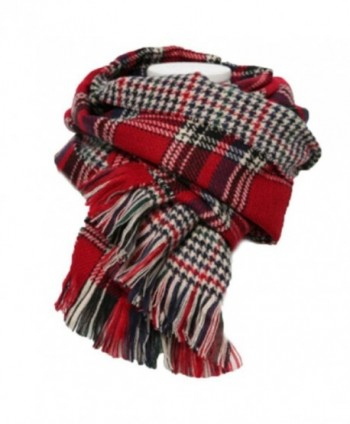 Women's Retro Soft Plaid Tartan Grids Scarf Large Blanket Winter Wraps Shawl - Red - CK127FNFS0X