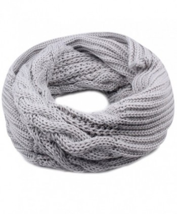 Women's Winter Knit Infinity Scarf - Thick Ribbed Knitted Cable Circle Loop Scarf FURTALK Original - Grey - CH187I3K20U