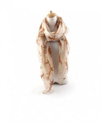 ctshow fox Print Voile Print Scarf Fashionable Women Scarves shawl - Beige - CD182KO7WHD