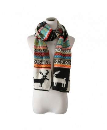 candyanglehome Christmas Knitting Scarf Women Men Winter Warm Thick Wool Reindeer Printed Knit Shawl - Black - CC1889ATS5S