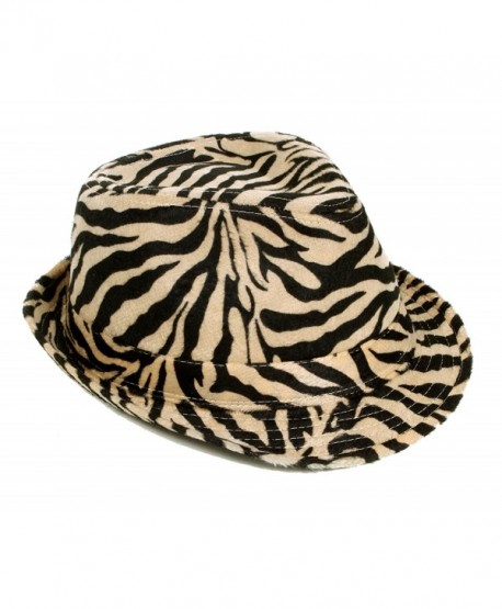 Simplicity Zebra Stripes Tweed Furry Trilby Gothic Fedora Hat- Beige- SM - CS119ED3FD5