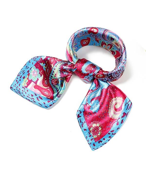Women's Fashion Soft Elegant 60cm Neck Satin Square Scarves Vintage Floral - C-1 - C312JHI4YOZ