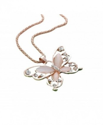 Perman Ladies Fashion Rose Gold Opal Butterfly Pendant Necklace Sweater Accessories - C31885OQNDD
