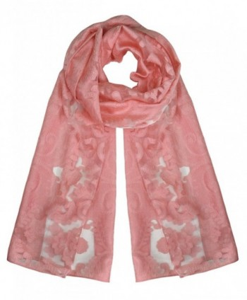 Peach Couture Embroidered Bohemian Design Sheer Lightweight Burnout Velvet Scarf - White Pink - CO17YE8KC2E