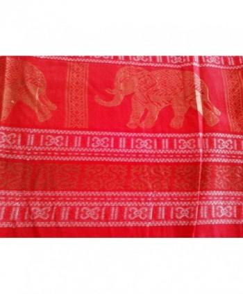 RED Thai Silk Elephant Scarf