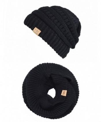 EVRFELAN Winter Warm Beanie Scarf Set Women - Knit Infinity Loop Scarf and Hat Sets for Men - Black - CT186N6EOKD