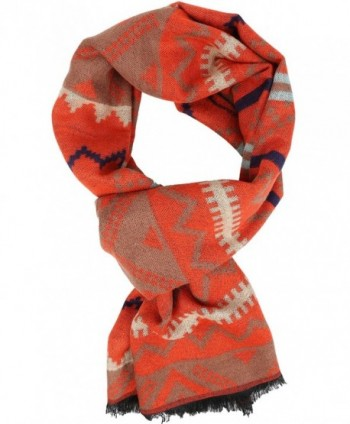 Sakkas Xayn Long Aztec Tribal Warm Patterned UniSex Cashmere Feel Scarf - Orange - CP12LBF0AJT