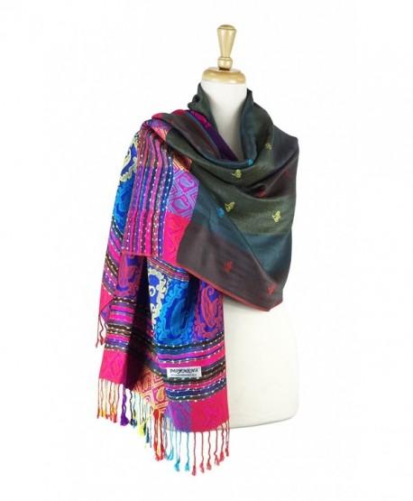 Paskmlna Double Side Rainbow Silky Colorful Exotic Pashmina Wrap Shawl Scarf - 5grey - CG12JJLVKZB