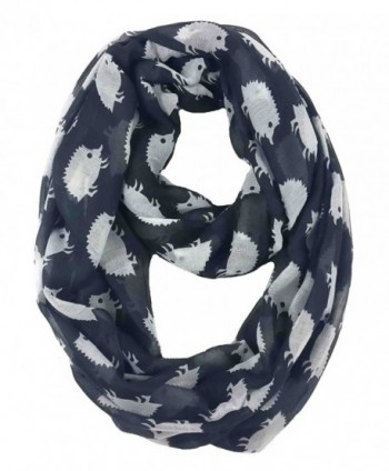 Lina & Lily Hedgehog Print Infinity Loop Scarf for Women Lightweight - Black and White - CQ11PW52JQN