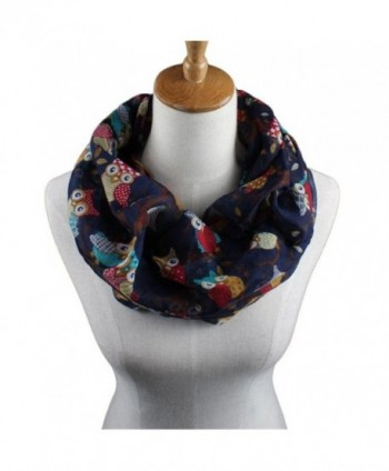 Elegant Scarves for Women- WuyiMC Women Ladies Owl Pattern Print Scarf Warm Wrap Shawl - Dark Blue - C3188NCZ4IT