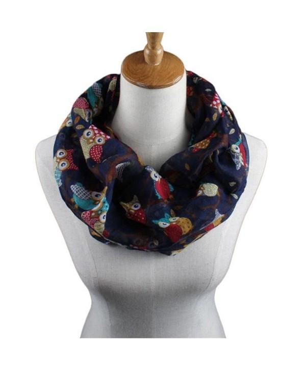 Elegant Scarves for Women- WuyiMC Women Ladies Owl Pattern Print Scarf Warm Wrap Shawl - Dark Blue - C3188NCZ4IT