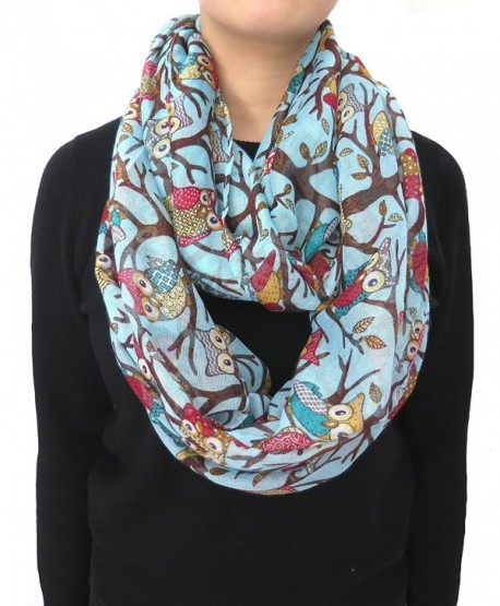 Lina & Lily Owl on Branch Print Infinity Loop Women's Scarf Lightweight - Light Blue - CM11Q7NLGVX