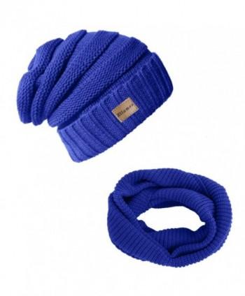 Ellames Knit Beanie Infinity Scarf for Women Men Circle Loop Scarves Hat Set - 2 Pcs-royal Blue - CT186ZTUG8Z