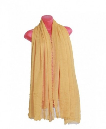 Womens Scarves scarves crinkle Headscarf - Yellow - CO1820RKC2X