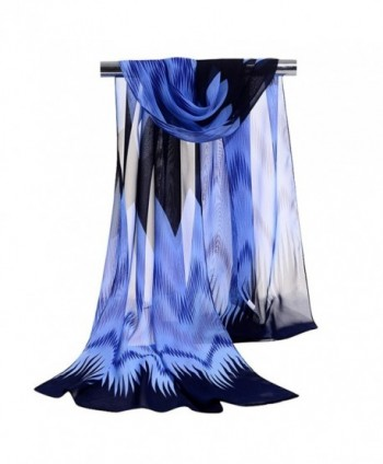 GERINLY Chiffon Scarves Chevron Pattern Shawl Sheer Scarf - Blue - C912O0FW48O