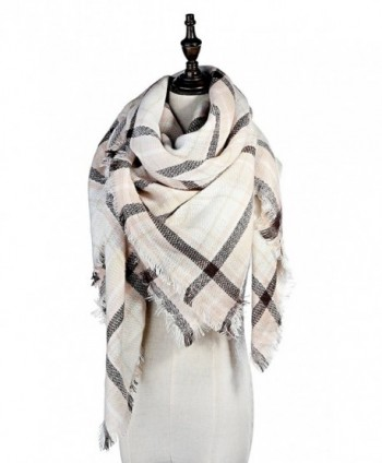 Lamamamas Plaid Blanket Scarf Warm Cozy Tartan Wrap Shawl Winter Scarfs for Women - Grey - CF182AA256L