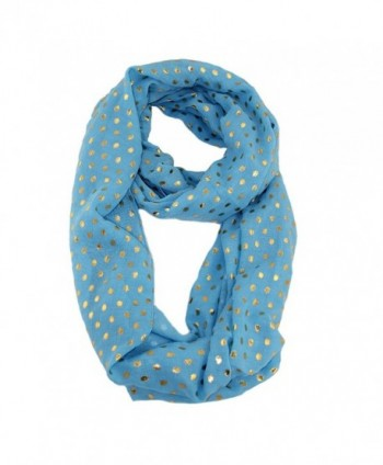 EZGO Gold Stamping Polka Dots Pattern Soft Voile Loop Infinity Scarves (sky blue) - CQ12MASGP5I