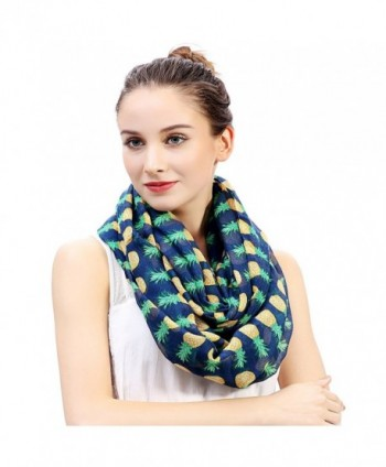 Lina & Lily Pineapple Print Women's Infinity Loop Scarf Large Size Lightweight - Navy Blue - C811POWLE2T