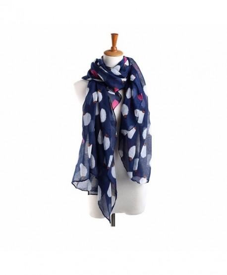 Creazy Women Ladies Hedgehog Pattern Long Scarf Warm Wrap Shawl - Navy - C2129F0OHGP