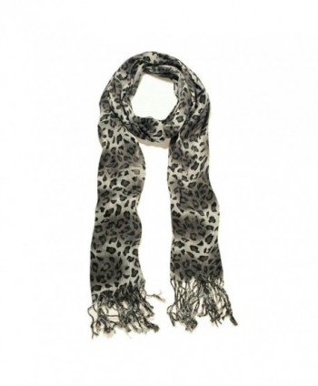 TrendsBlue Elegant Leopard Animal Print Scarf with Fringe - Diff. Colors Avail - Black - CC114WNAY85