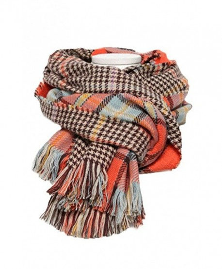 Runtlly Women's Retro Voile Soft Houndstooth Reversible Dual Purpose Wrap Shawl - 01 Orange - CK1285NOKQF