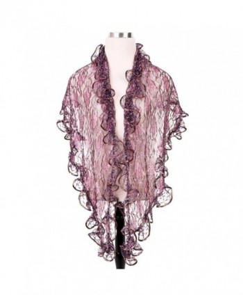 Elegant Sheer Shine Lace Floral Fashion Scarf Shawl Wrap - Different Colors - Purple - C3124J3FHJT