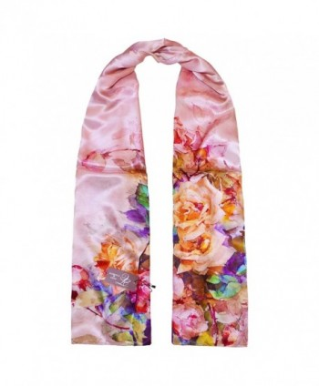 TONY & CANDICE Women's Oil Paintings Printed 100% Silk Long Scarf Shawl - 'Spring Rose' - CR11KO9CFMF
