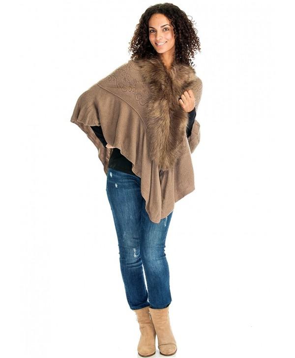 Ladies/Women's Fashion Luxury Faux Fur Shawl Wraps Coat Sweater Cape - Rosy Brown - C0186TW35YO