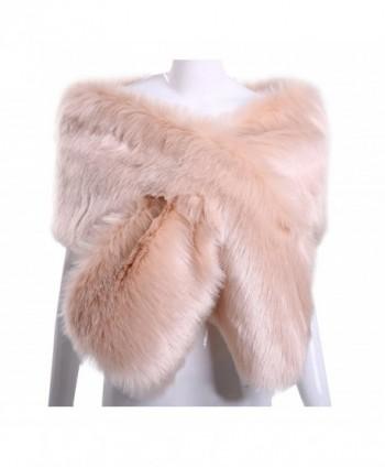 KAMA BRIDAL Women Long Faux Fox Fur Shawl Bridal Stole Cover Up Winter Soft Bolero Scarf - Blush - C5188RZAOY9