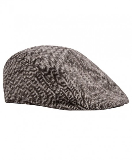Pierre Cardin Men's Big and Tall IVY Cap Tweed Herringbone newsboy In Black and Beige - Tweed Camel - CQ184YW25MK