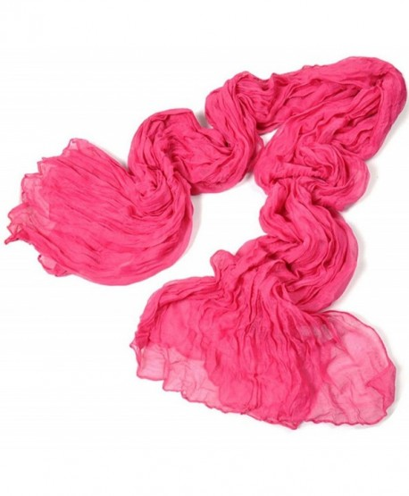 Women Candy Color silk chiffon scarf DZT1968 Wrap Shawl Pashmina Scarves - Hot Pink - CK129ZSCCDH