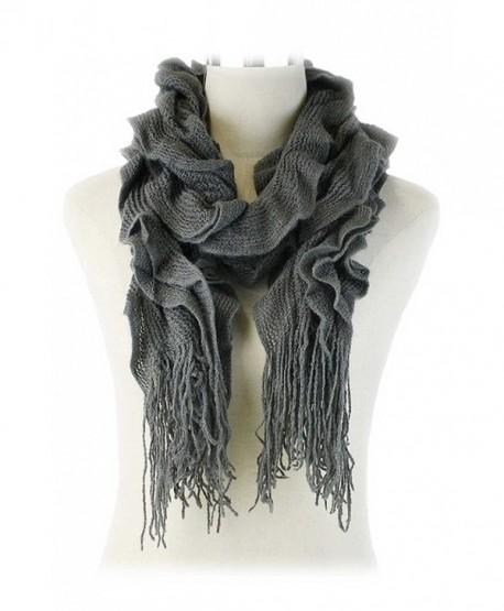 Aesthetinc Classic Solid Color Ruffle Fringe Knit Scarf - Dark Gray - C212O1H3MLF