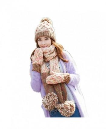 Lucky Beth Winter Warm Women Wool Hat/Scarf/Gloves Set Knitted Hat Scarf Mitten - Beige-6 - C912O63C331