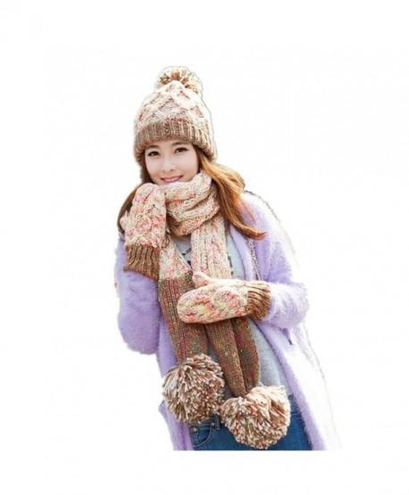 Lucky Beth Winter Warm Women Wool Hat Scarf Gloves Set Knitted Hat Scarf  Mitten - Beige-6 - C912O63C331 696b148eb92